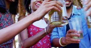 Group of friends toasting beer glasses at music festival 4k. Group of friends toasting beer glasses at music festival on a sunny day 4k stock video footage