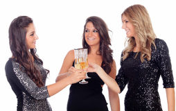 Group of friends toasting with champagne in Christmas Stock Photography