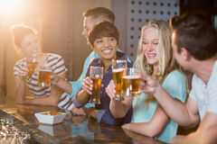 Group of friends toasting glass of beer at bar counter. Group of smiling friends toasting glass of beer at counter in bar stock image