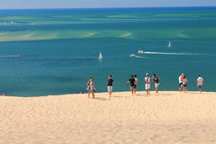 Group of friends on a trip to dune de pilat on a hot summer day Royalty Free Stock Image