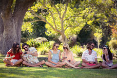 Group of friends using mobile phone. Group of happy friends using mobile phone in park stock images