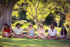 Group of friends using mobile phone. Group of happy friends using mobile phone in park royalty free stock photo