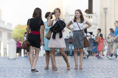 Group of friends on vacation in Rome (Italy) stock image