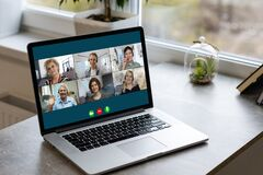 Free Group Friends Video Chat Connection Concept Royalty Free Stock Images - 217129099