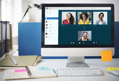 Group Friends Video Chat Connection Concept Royalty Free Stock Photography