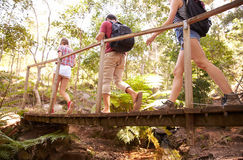 Group Of Friends On Walk Crossing Wooden Bridge In Forest Royalty Free Stock Images