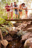 Group Of Friends On Walk Crossing Wooden Bridge In Forest Stock Images
