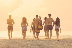 Group of friends walking on the beach at sunset. Stock Images