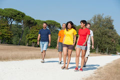 Group of Friends Walking Outside Stock Image