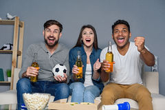 Group of friends watching sport together Royalty Free Stock Image