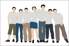 Group friends white T-shorts Royalty Free Stock Photo