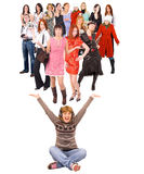 Group of frienfly people isolated over white Royalty Free Stock Photo