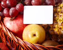 Group of  fruit in basket with banner. Royalty Free Stock Photo