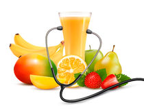 Group of fruit and a stethoscope. Dieting concept. Royalty Free Stock Photography