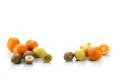 Group of fruits. Group of orange, kiwi and lemon Stock Images