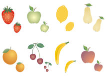 Group of fruits diverse Stock Images