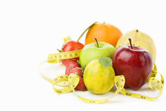Group fruits with measuring tape Stock Image