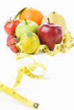 Group fruits with measuring tape Stock Photos