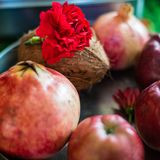 Group of fruits used as an offering with particular mantras pray. Ers. Coconut pomegranates red apples and red flowers, are offered with particular mantras stock photos