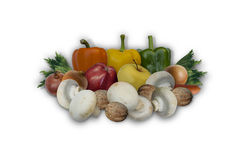 Group of fruits and vegetables for cooking summer salad. On white background Stock Photo