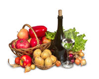 Group of fruits, vegetables and greenery Royalty Free Stock Photography