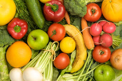 Group of fruits and vegetables Stock Photos