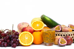 Group of fruits and vegetables isolated on a white background Royalty Free Stock Image