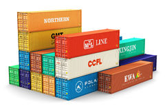 Group of 40 ft freight cargo containers Royalty Free Stock Photos