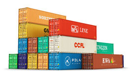Group of 40 ft freight cargo containers Stock Images
