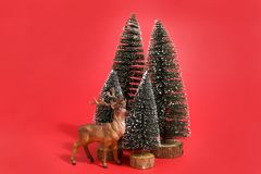 Forest firs and reindeer red Stock Photos