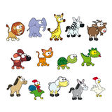 Group of funny animals. Royalty Free Stock Images