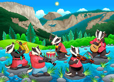 Group of funny badgers are playing music Royalty Free Stock Photo