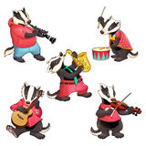 Group of funny badgers are playing music Royalty Free Stock Image