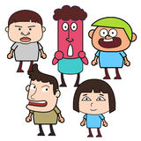 Group of  funny cartoon people Stock Photos