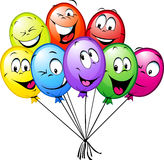 Group of funny colorful balloons Stock Photos