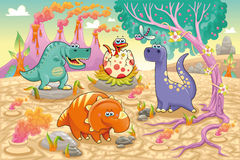 Group of funny dinosaurs in a prehistoric landscap Stock Photo