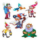 A group of funny gnomes with bird. Vector fantasy isolated characters Stock Photo