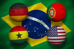 Group g footballs for world cup Royalty Free Stock Images