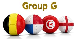 Football World championship groups 2018 - Group G represented by classic soccer balls painted with the flags of the countries Stock Photography