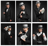 Group of gangster girl. Holding dollars watch. Eccentric and emo Royalty Free Stock Photo
