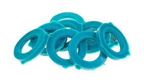 Group of garden hose washers. A group of new plastic garden hose washers on a white background stock image