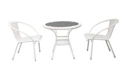 Group of garden white  garden  desk and chairs isolated backgrou Royalty Free Stock Image