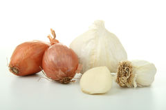 Group of garlic and onion Stock Photos