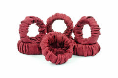Group of Gathered Fabric Napkin Rings Stock Image