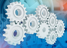Group gears on abstract background clock mechanism Royalty Free Stock Images