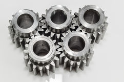 Group of gears on isolated. Background Stock Images