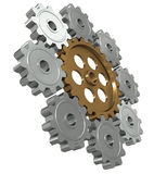 Group gears. Symbol leader in team work Stock Photos
