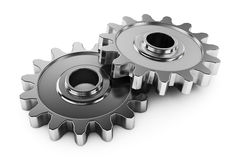 Group gears with teeth. Parts of the mechanism transmission. Royalty Free Stock Images