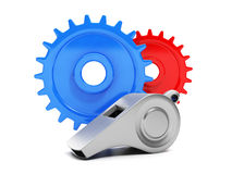 Group gears and whistle closeup Royalty Free Stock Photography
