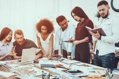 Group. Generate Idea. Teamwork. Young Designers. Group Generate Idea. Teamwork. Young Designers Different Races Project. Cooperation Spend Brainstorming Work royalty free stock images